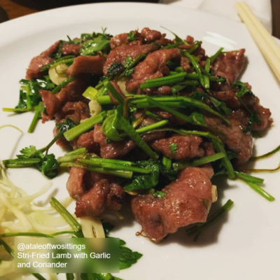 Stir-Fried Lamb with Garlic and Coriander
